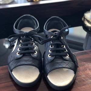 CHANEL Flat Black Sandals SZ 36